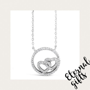 Sterling Silver Double Love Heart Pendant- Absolute Jewellery SP114SL