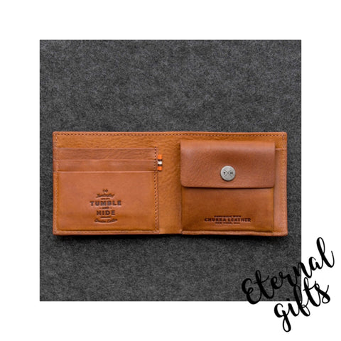 Chukka leather mens wallet by Tumble and Hide with coin pocket. Tan