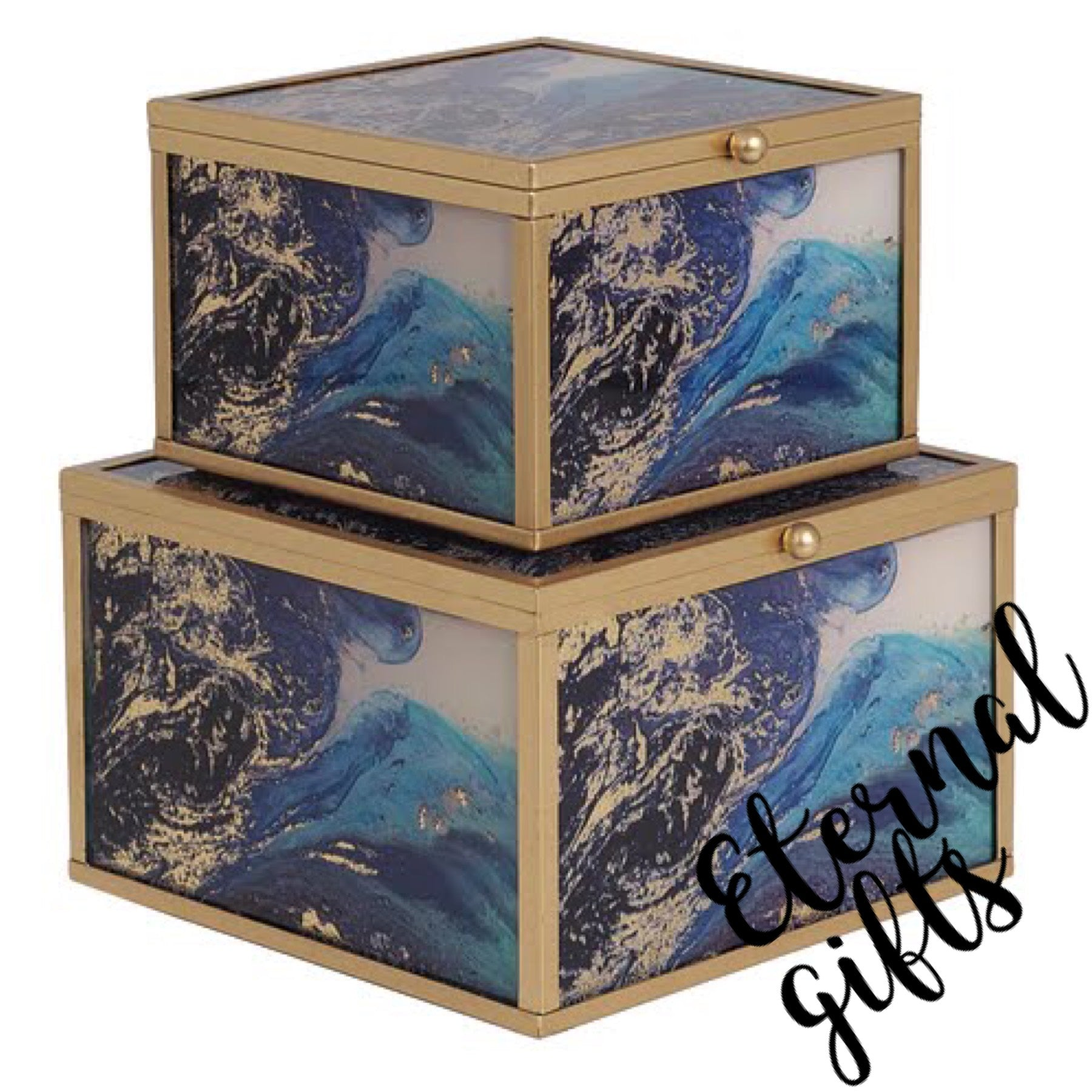 Marine Wonder -Accessory Box (Set of 2)- Mindy Brownes Interiors