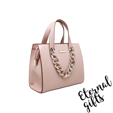 Urban Acrylic Chain Tote Bag in Pink/Blush