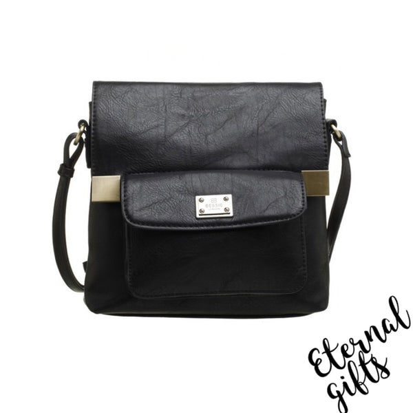 Cross Over Leather Bag with Front Pocket- In Black
