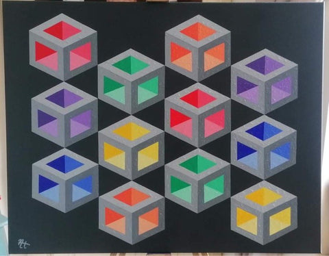 Rainbow Cubes -Nickie Harrington Art Prints