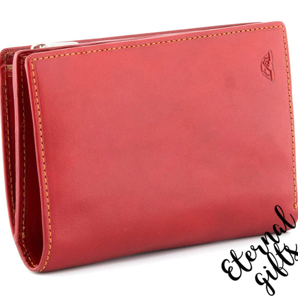 Italian Leather flap purse with zip coin pocket by Tony Perotti. Red