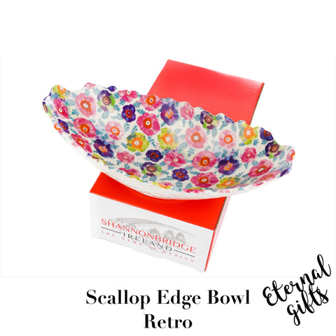 Retro Scallop edge Large Bowl- Shannonbridge Pottery