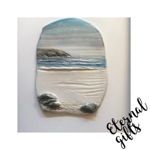 Mounted Ceramic Sea Scape (Boxed) III- Sara Roberts Ceramicist