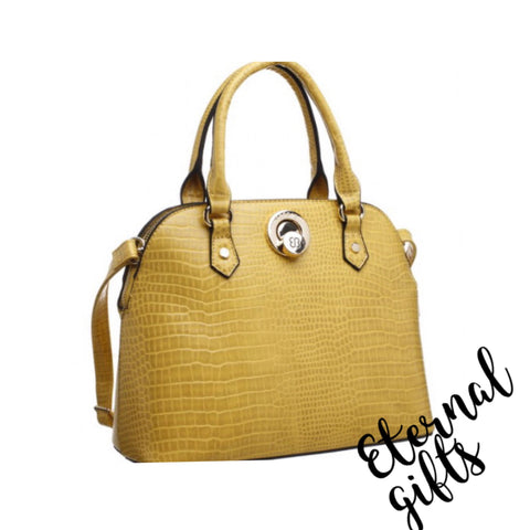 Shell Print Croc Print Tote Handbag in Yellow/Mustard
