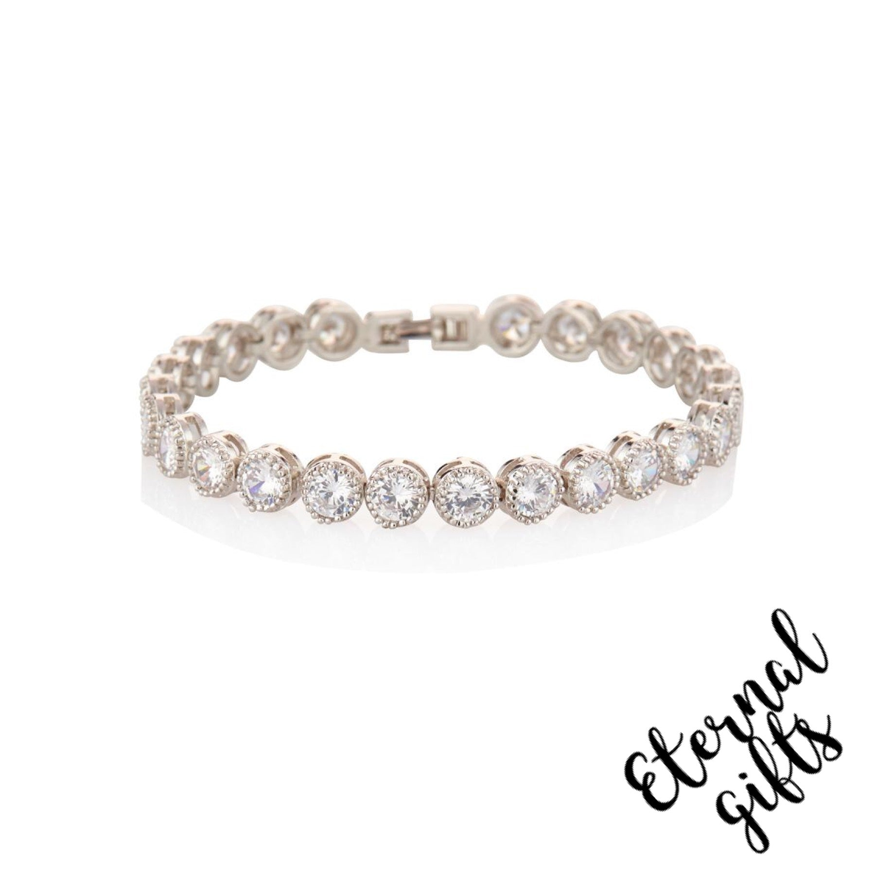 Rhodium Tennis Bracelet - Knight and Day Jewellery