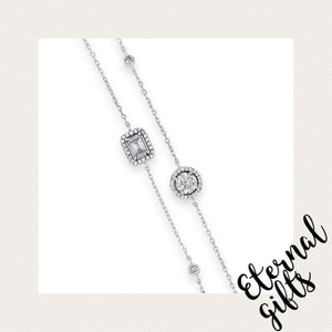 Sterling Silver Layered Square and Round Stone Bracelet (SB128SL)- Absolute Jewellery