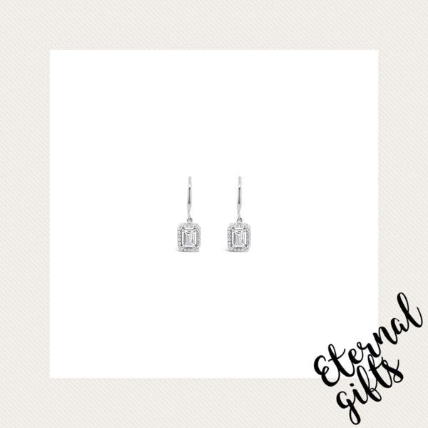 Sterling Silver Drop Square Diamond Earrings (SE127SL)-Absolute Jewellery