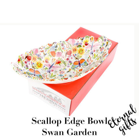 Swan Garden Scallop Edge Bowl (Large)- Shannonbridge Pottery