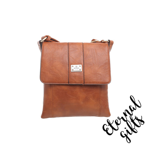 Cross Over Bag Leather With Flap And Zip Closing - In Tan