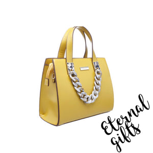 Urban Acrylic Chain Tote Bag In Yellow/Mustard