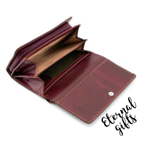 Luxury Italian Leather Flap Over Purse by Tony Perotti in Plum