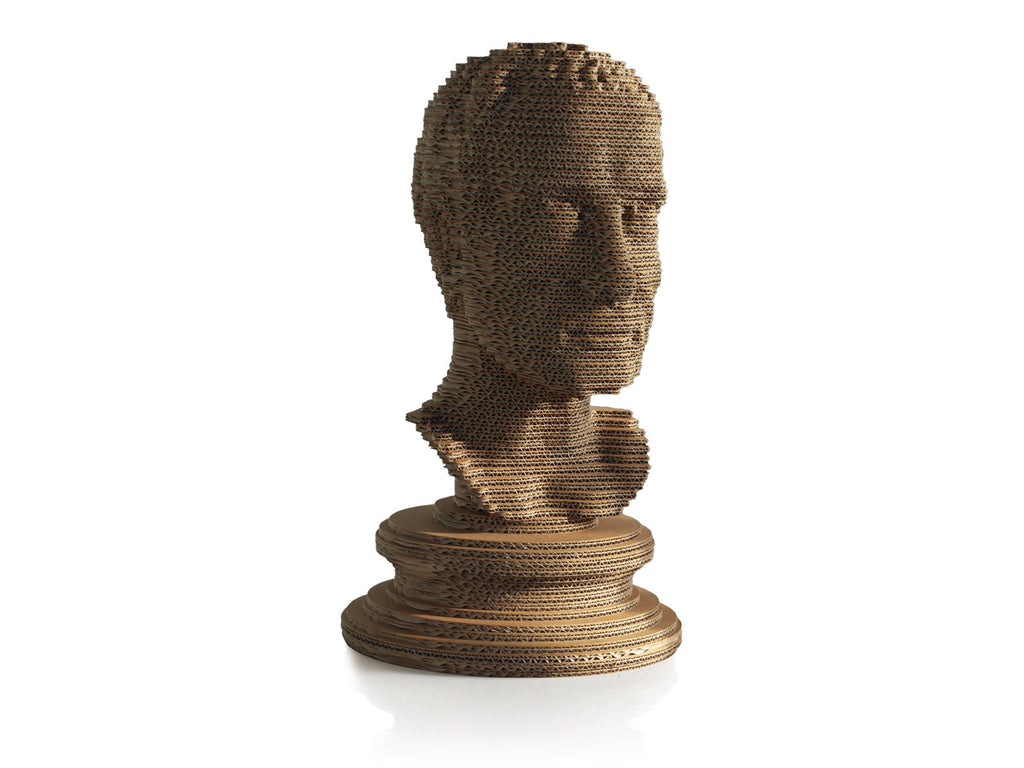 eetico | Giulio C sculptural bust made of recycled cardboard and hand assembled.