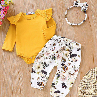 3pc Floral Pants and Bodysuit Set