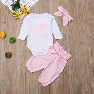 3pcs I Love Mom Baby Girl Set