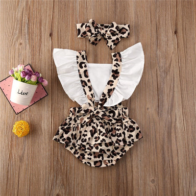 Leopard print Ruffle Collar 2pc Outfit