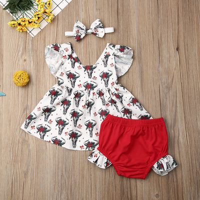Christmas Deer 3pcs Baby Girl Set