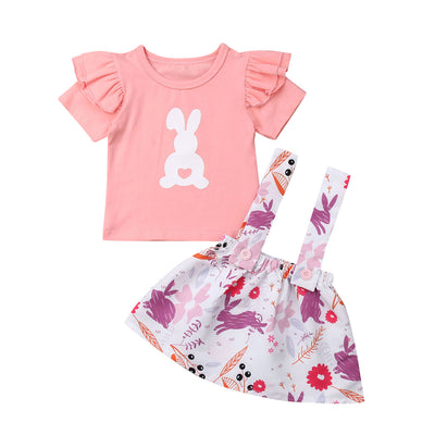 Pudcoco New Brand 2019 2PCS Kids Baby Girls Easter Bunny Tops T-shirt Short Skirt  Outfits Clothes