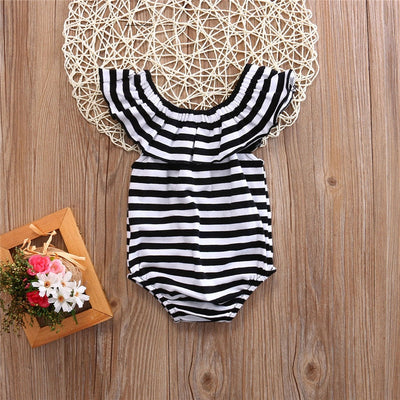 Baby Girls Ruffles Striped Off Shoulder Body Suit