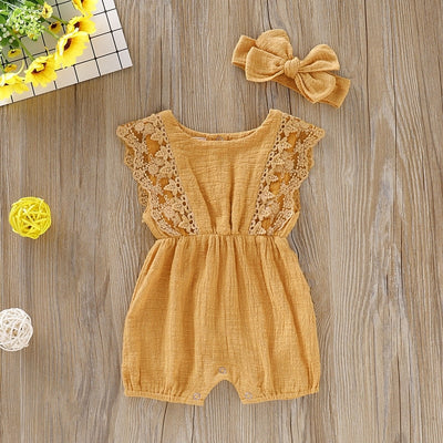 Solid Lace Design Romper with Bow