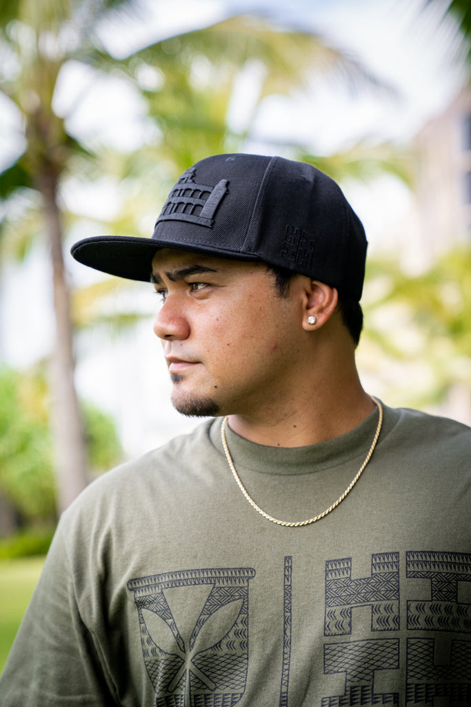 ALL BLACK PALACE HAT HAT Hawaii's Finest
