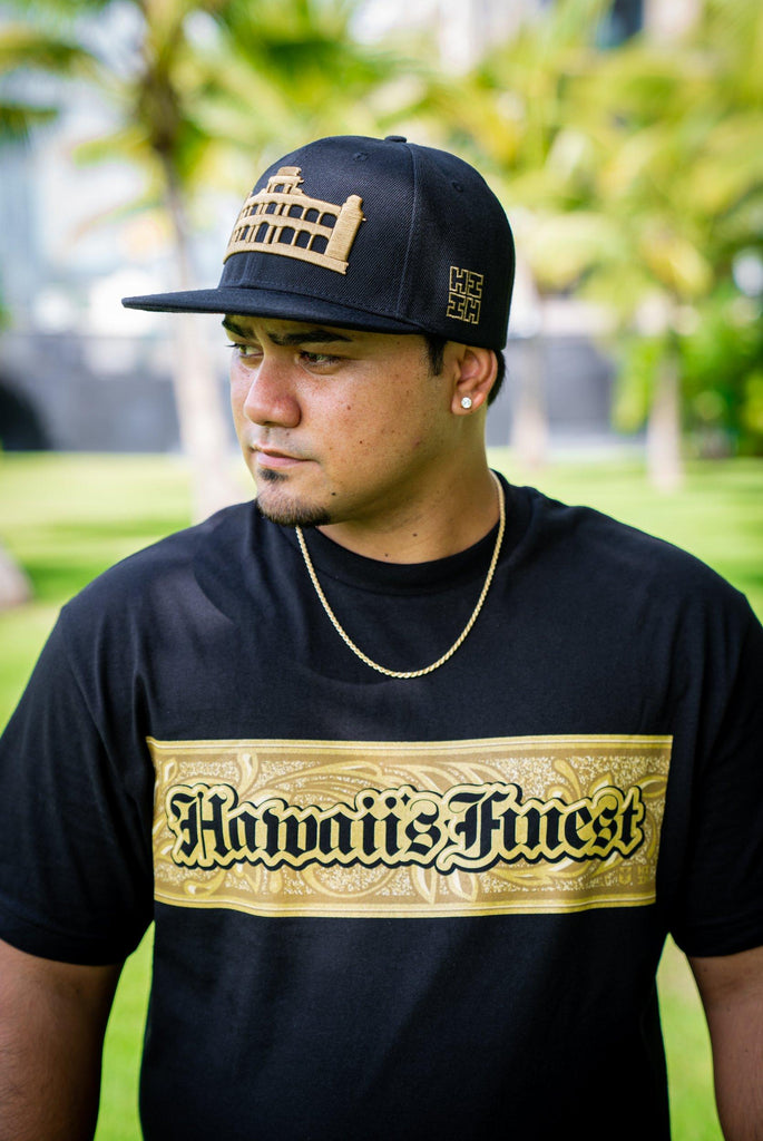 BLACK & GOLD PALACE HAT HAT Hawaii's Finest