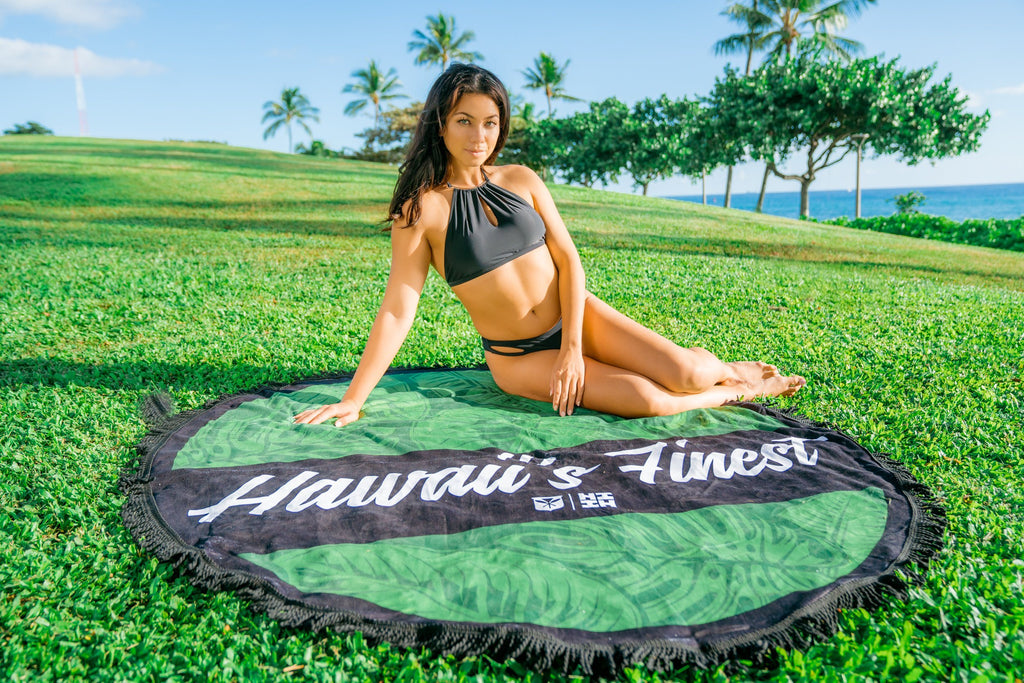 GREEN LEAVES CIRCLE TOWEL Utility Hawaii's Finest