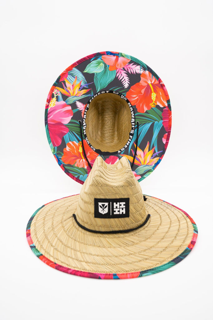 HIBISCUS FLORAL STRAW HAT HAT Hawaii's Finest