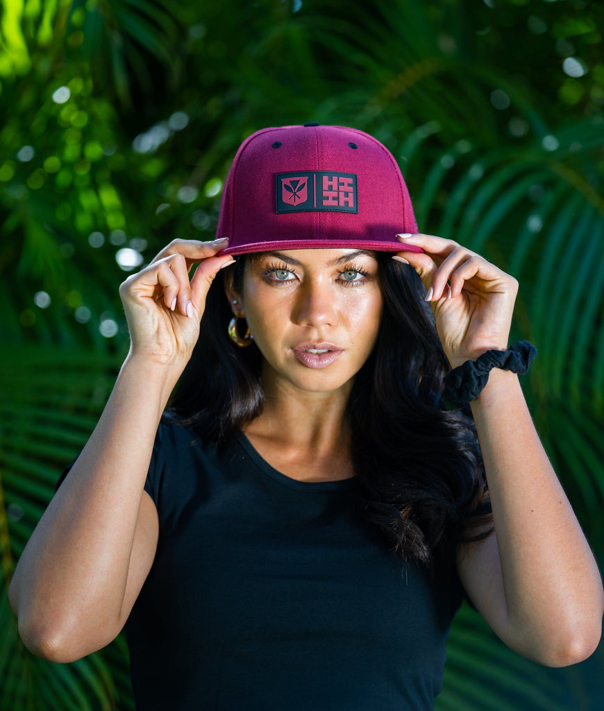 MAROON RUBBER PATCH HAT HAT Hawaii's Finest