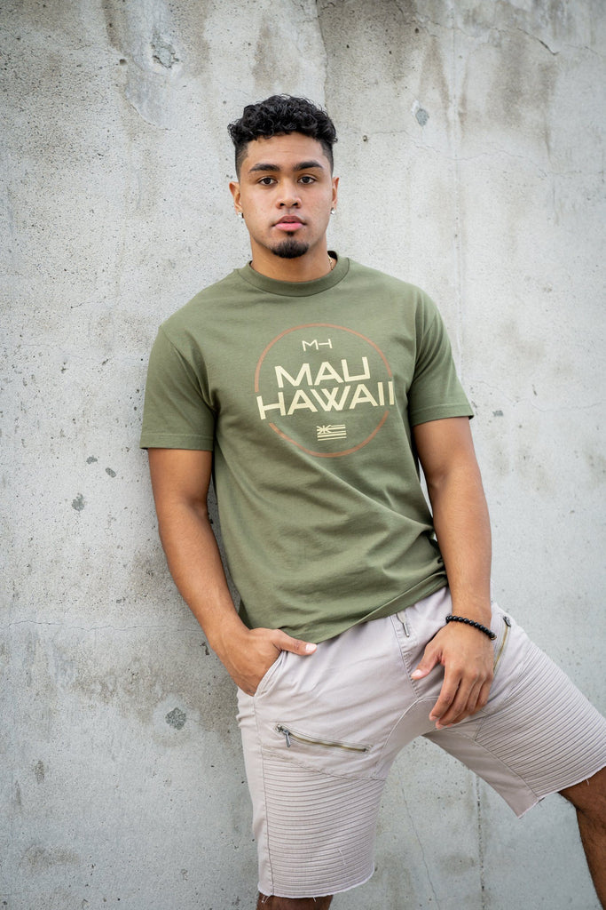 MAU OLIVE & BROWN CIRCLE T-SHIRT Shirts Mau Hawaii Small