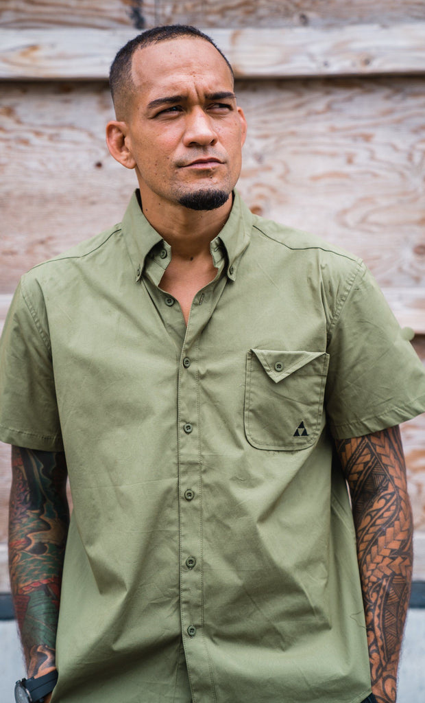 MEN'S OLIVE BUTTON-UP SHIRT Shirts Mau Hawaii Small