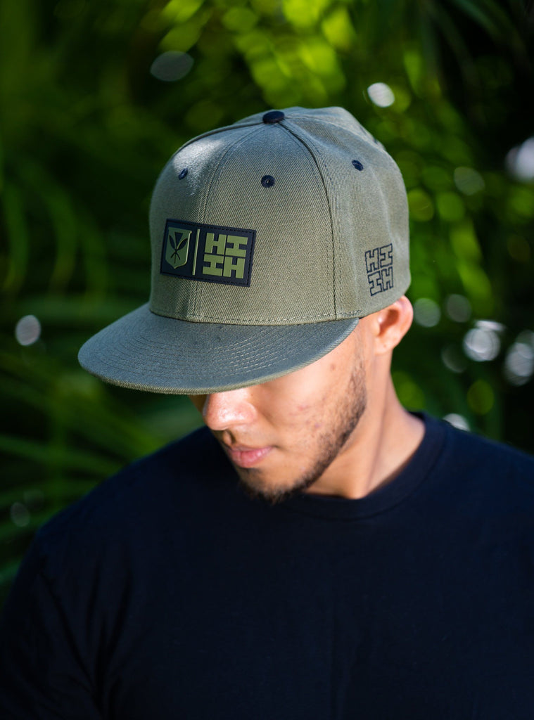 MILITARY GREEN RUBBER PATCH HAT HAT Hawaii's Finest