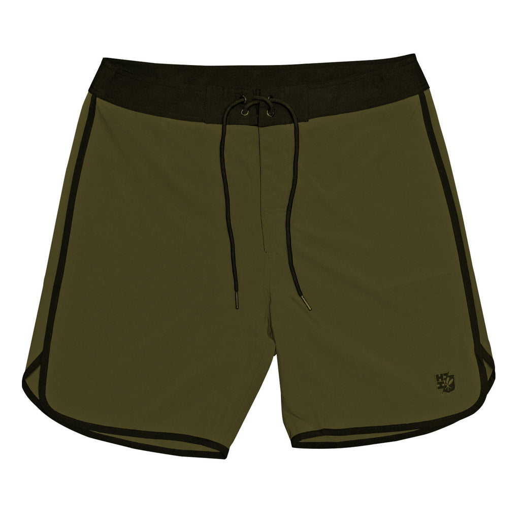 OLIVE GREEN HIFI PERFORMANCE BOARDSHORTS Shorts Hawaii's Finest