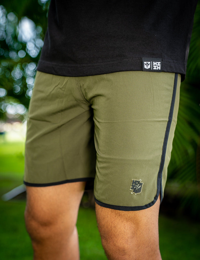 OLIVE GREEN HIFI PERFORMANCE BOARDSHORTS Shorts Hawaii's Finest 28