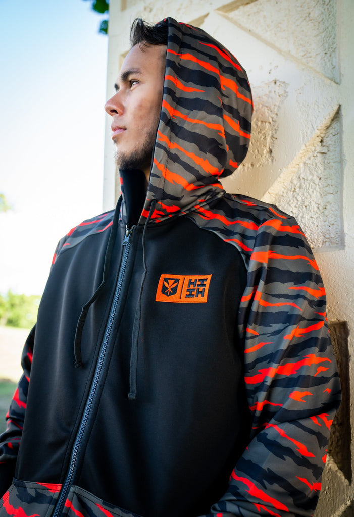 OLIVE GREEN & ORANGE TIGER CAMO MINI COLLECTION HOODIE Jacket Hawaii's Finest