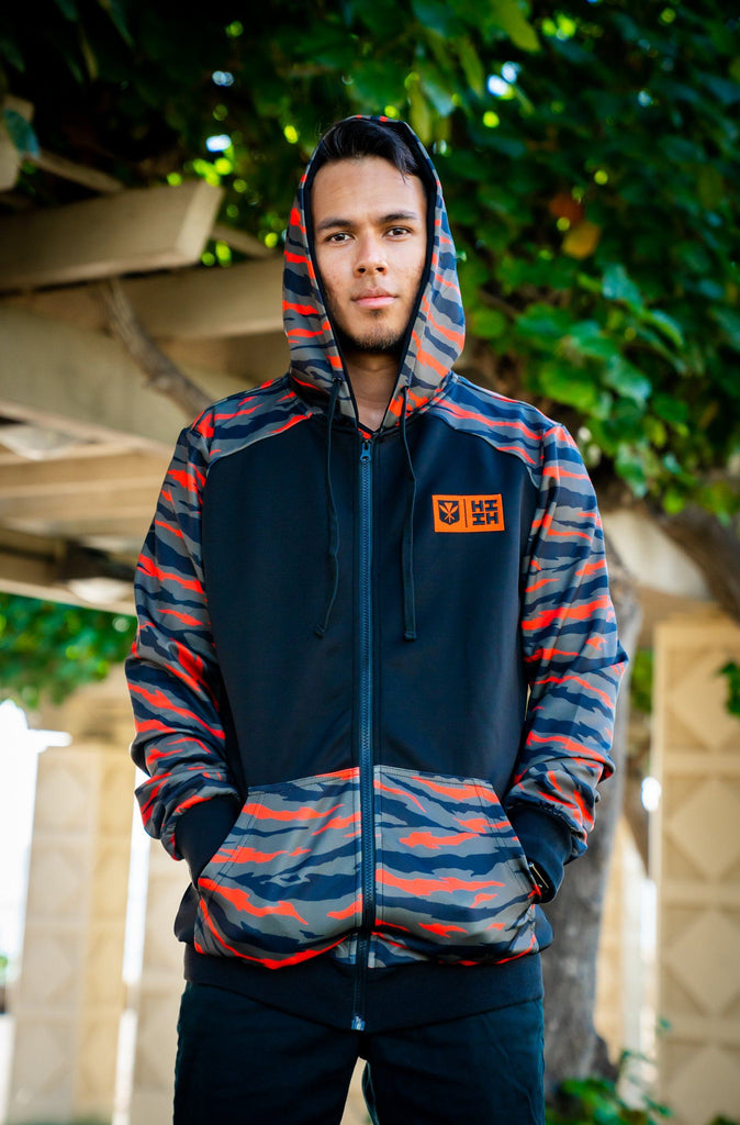 OLIVE GREEN & ORANGE TIGER CAMO MINI COLLECTION HOODIE Jacket Hawaii's Finest SMALL