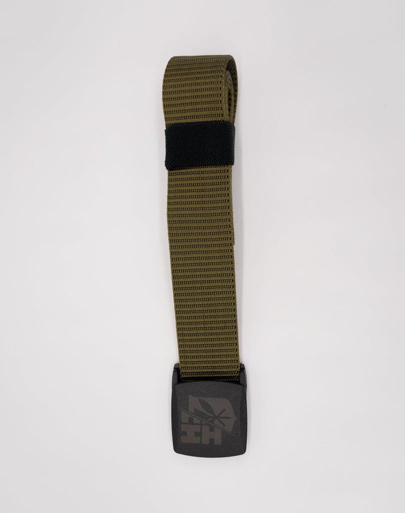 OLIVE GREEN SPLIT LOGO BELT Utility Hawaii's Finest
