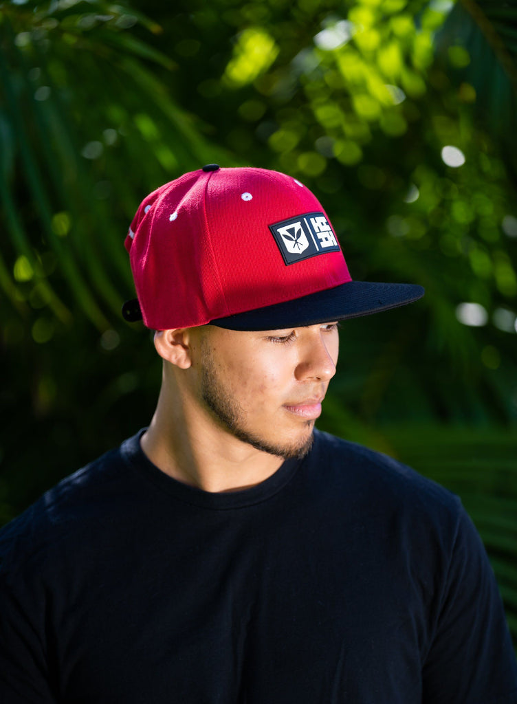 RED RUBBER PATCH HAT HAT Hawaii's Finest