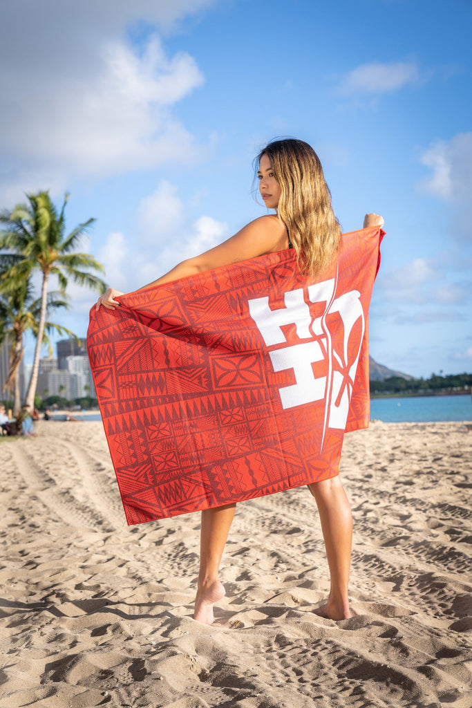 RED TAPA TOWEL Utility Hawaii's Finest