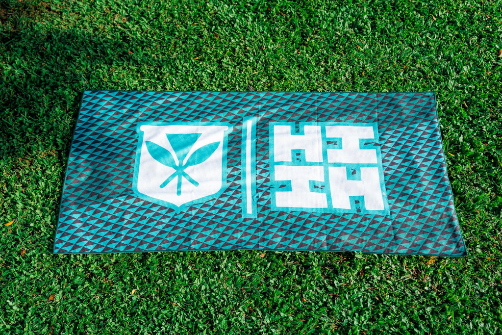 TEAL SIMPLE LOGO TRIANGLE TOWEL Utility Hawaii's Finest
