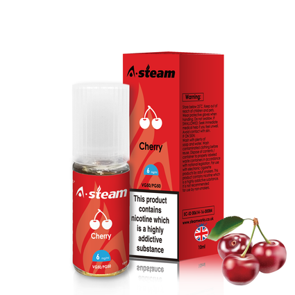 A-Steam Cherry E Liquid 10ml Vape Juice 50vg TPD COMPLIANT Multibuy