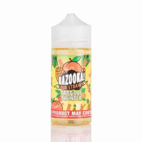 TROPICAL-THUNDER-BY-BAZOOKA–PINEAPPLE-PEACH-SOUR-STRAWS-100ML-SHORTFILL-E-LIQUID-70VG-0MG-USA-VAPE-JUICE