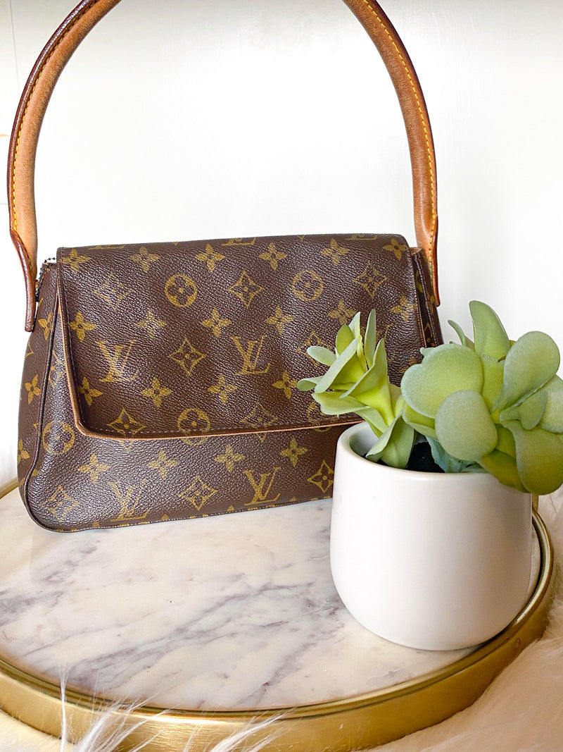 Monogram Canvas Leather Mini Looping Bag
