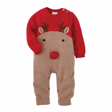 Red Knit Reindeer One Piece