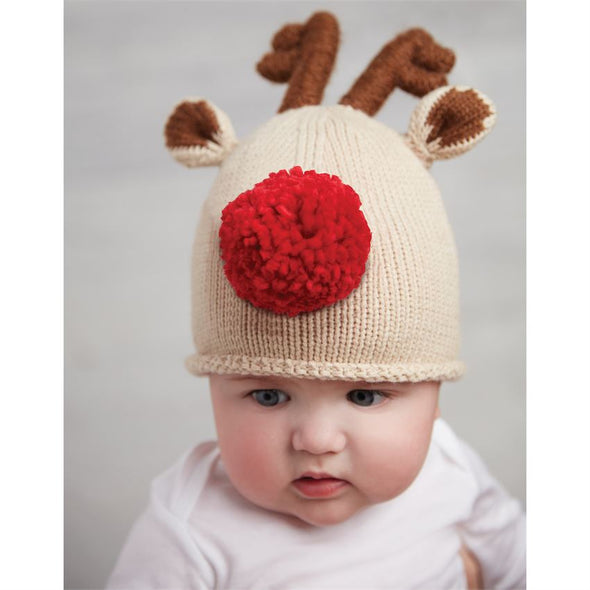 Red Pom Pom Nose, Knit Reindeer Hat