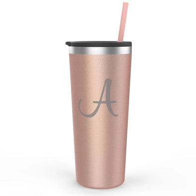 Rose Gold Tumbler with Custom Initial, Wholesale