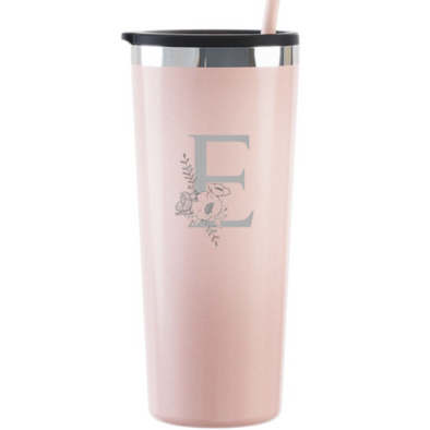 Glitter Blush 22oz Tumbler with Custom Floral Initial, Wholesale