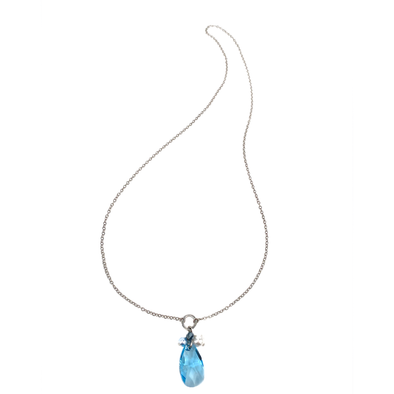 Sea Glass, Long Teardrop Pendant Crystal Necklace