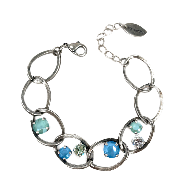 Sea Glass, Crystal Chain Bracelet